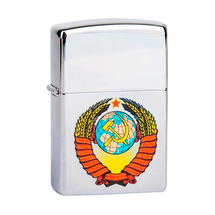 Зажигалка Zippo 250 Герб СССР, High Polish Chrome