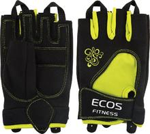 Полуперчатки ECOS 1728 женские для фитнеса, Yellow/Black